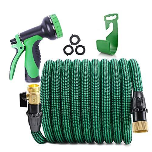 POETRY Manguera de jardín expandible – Manguera de agua expandible – Pistola pulverizadora ligera, duradera y flexible de 9 funciones, la mejor opción para riego y lavado, verde, 30 m