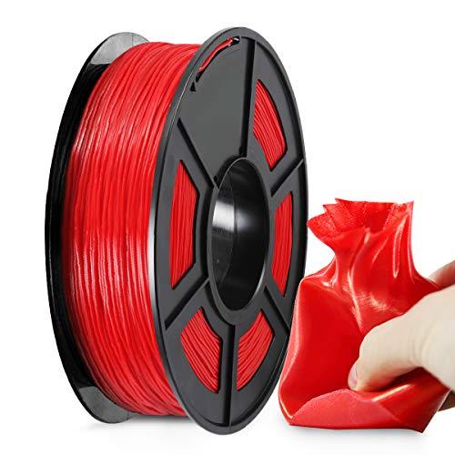 Filamento TPU Stampante 3D 1,75, Filamento Flessibile TPU Rosso SUNLU 1,75 mm, Stampante 3D FDM Adatta, Bobina 0,5 kg, Precisione Dimensionale +/- 0,02 mm, TPU Rosso