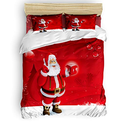 Libaoge 4 Pieces Duvet Cover Bedding Set Full Include 1 Duvet Cover 1 Flat Sheet 2 Pillowcases Ultra Soft Santa Claus Red Decorations Bedding Collections
