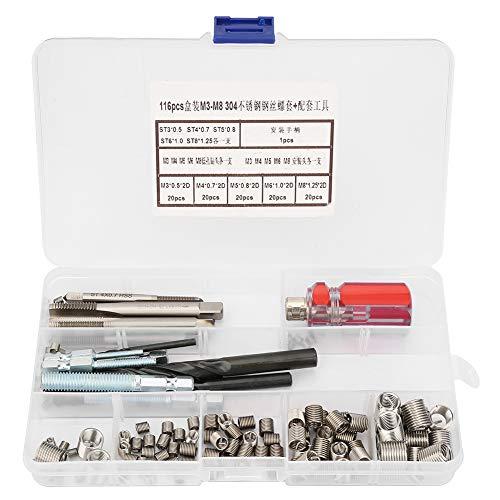 Leku Kit de inserción de reparación de roscas - 116 Piezas/Set Juego de Herramientas de inserción de reparación de roscas de Manga de Tornillo de Alambre de Acero Inoxidable
