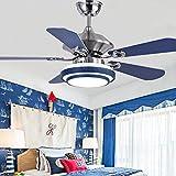 Ventilador de techo 48 pulgadas mediterránea de plata reversible / azul Hojas moderna silencioso ventilador de techo bajo rasante Ventilador de techo lámpara de acero inoxidable Ventilador de techo in