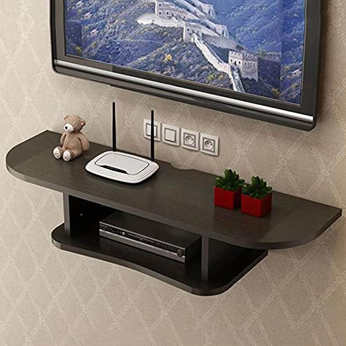 Estante flotante, consola de TV de madera montada en la pared, caja de TV satelital, decodificador de cable, estante de gabinete multimedia colgante/Black / 60cm