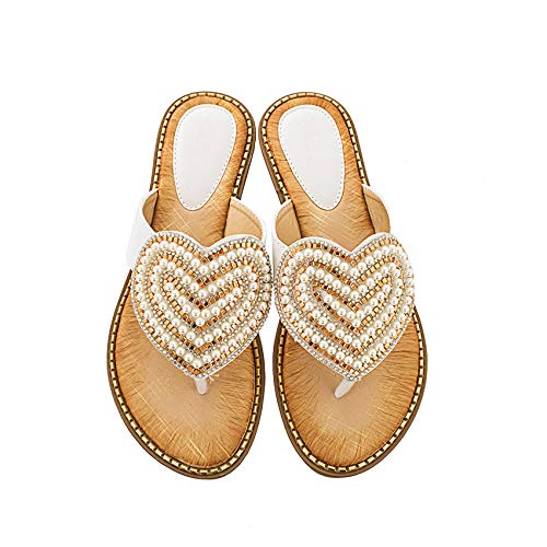 Shhyy Sandalias de mujer Wave Heart Flip-Flop-Women's Patent Tanga Sandal-String con piedras con joyas, A,38