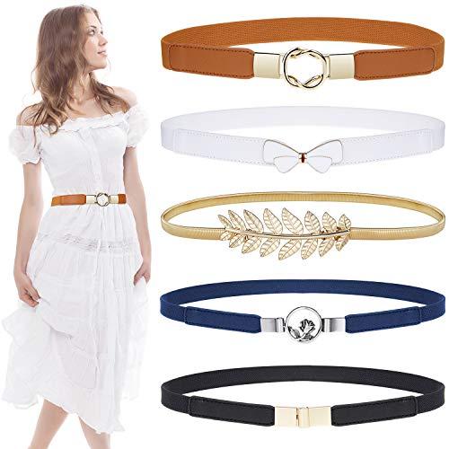 Skinny Belts for Women 5 Pack, EAONE Fashion Dress Belts Stretch Women Waist Belts Plus Size Elastic Waist Band for Dresses, 5 Style