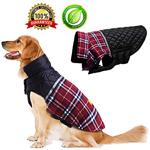 BESAZW Dog Jacket Winter Coats for Dogs Coat Sweater for Cold Weather Reversible Waterproof Warm Dog Sweaters for Small Medium...