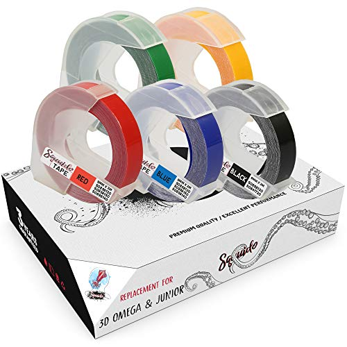 Squuido 5 Etiquetas Blanco sobre Rojo/Azul/Negro/Verde/Amarillo Etiquetas de estampación 3D autoadhesivas 9mm x 3m compatibles para Dymo Omega & Junior