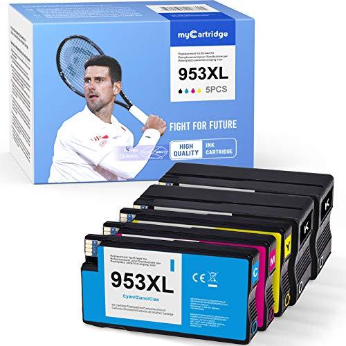 Mycartridge 5 cartuchos de tinta compatibles con HP 953 XL 953XL (chip de actualización en November) para impresoras HP OfficeJet Pro 7720 7740 8710 8715 8720 All-in-One