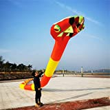 MJC Los niños Kite Cometa, Cometa 3D Kids Fun Cometas for niños fácil de Volar con Deportes al Aire Libre 3D Tridimensional 55m Suave Inflable Adulto Serpiente Kite Brisa (Color : Black and White)