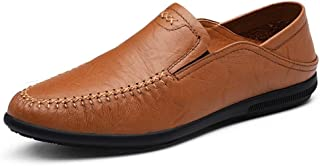 Fashion Driving Loafer Men's Boat Moccasins Slip On OX Leather Soft Breathable Pure Colors Round Toe Shoes Men's Boots (Color : Red Brown, Size : 5.5 UK)
