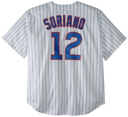 MLB Chicago Cubs Alfonso Soriano White/Royal Pinstripe Home Short Sleeve 6 Button Synthetic Replica Baseball Jersey Big & Tall Spring 2012 Men, Herren, Weiß/Royal Nadelstreifen, 3X-Large