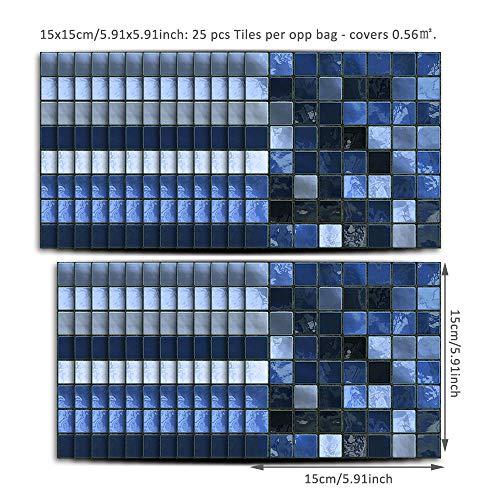WMHDSJ Fliesenaufkleber Küche Bad Blau Grau 15 x 15 cm Fliesenaufkleber wasserdicht selbstklebend Küche Bad Wohnzimmer TV Hintergrund Dekoration Crash-Wandaufkleber 25 Stück