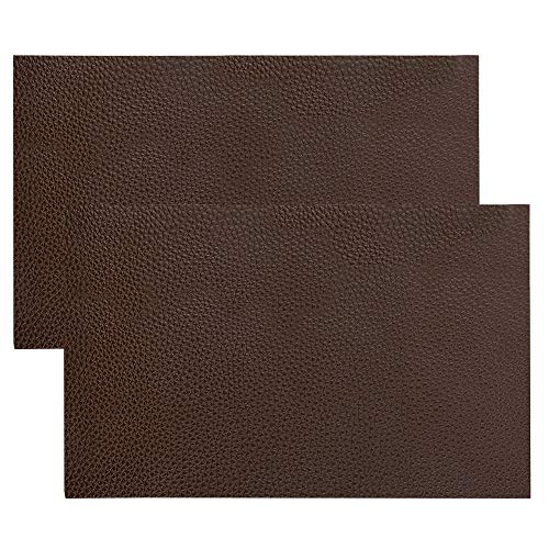 2 Pack Leather Repair Patch,YuCool Leather Repair Kit for Couch Furniture Sofas Car Seats,Jackets,Handbags,Cushion-8x11inch(Dark Brown)