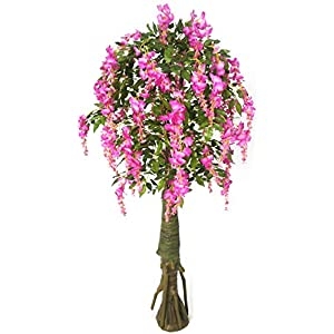 AMERIQUE Purple Gorgeous & Unique 6 Feet Artificial Silk Wisteria Tree with Flowers, UV Protection, Feel Real Technology, Standable, 1680 Leaves 72