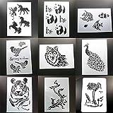 BLUGUL 9pcs A4 Plantillas de Dibujo, para Manualidades Decoración Pared Mueble Ventana Aerógrafo, Unicornio Fénix...