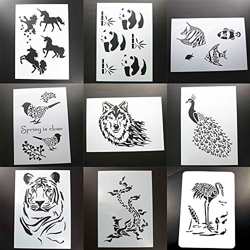BLUGUL 9 Stück A4 Schablonen, Zeichenschablonen, für Wand Boden Fliesen Holz Stoff Möbel, Einhorn Phönix Tiger Pfau Wolf Vogel Tropenfisch Panda