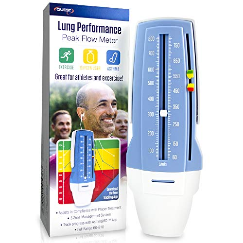 Quest AsthmaMD Lung Performance Peak Flow Meter Measures Lung Performance for Athletes, asthmatics, Breathing Lung Exerciser. Breath Measurement System. Includes Downloadable Free Tracking App