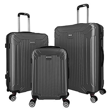 3 PC Luggage Set Durable Lightweight Spinner Suitecase LUG3 GL8216 DARK GREY