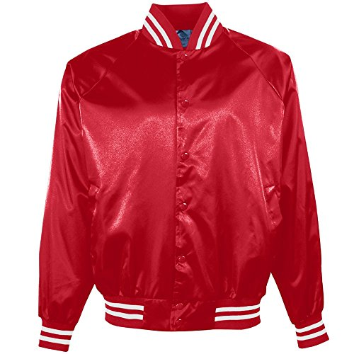 Augusta Sportswear Satin Baseball Jacket/Striped Trim XL Red/White