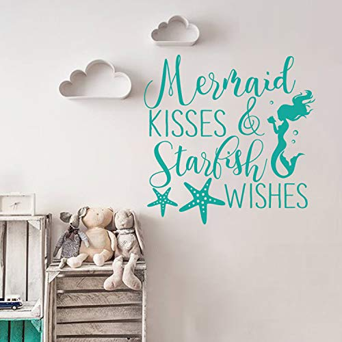 Quote Wall Decals Mermaid Kisses and Starfish Wishes Decal Mermaid Wall Art Sticker Girls Room Decor (Teal,16' h x 16' w)