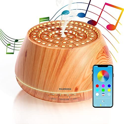 YOUNGDO 400ML Difusor de Aromaterapia, Altavoz Bluetooth APP Control, Difusor de Aceites Esenciales con 30 Colores LED, Ambientador Humidificador, Luz Nocturna para Dormitorio, Oficina, Yoga, Spa
