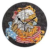 アメリカ国旗イーグルファイアラウンド壁時計円形プレートサイレント非カチカチ時計キッチンホームオフィス学校の装飾子供男の子女の子