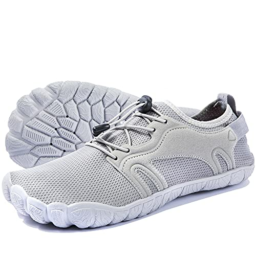 Hombres Zapatos de Agua Zapatillas de Playa Antideslizante Zapatos Descalzos Secado Rápido Zapatillas Sin Cordones Ligero y Transpirable Gris 45 EU