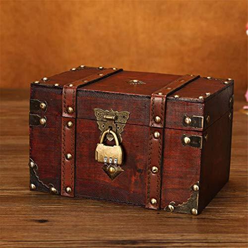 Huangjiahao Caja de almacenamiento de madera vintage con cerradura de contraseña, caja de almacenamiento para tesoros, regalos y cajas de almacenamiento (tamaño: L; Color: como se muestra)