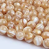 【Stone Wholesale】Natural Shell Beads 6mm Beige Color Mother of Pearl Round Gemstone Loose Beads for Necklace Bracelet DIY Jewelry Making About.6mm