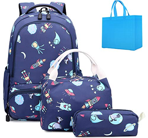 Boys School Backpacks with Lunch Bag and Pencil Case Kids 3 in 1 Bookbags Set School Bag for Elementary Preschool (Universe Set)