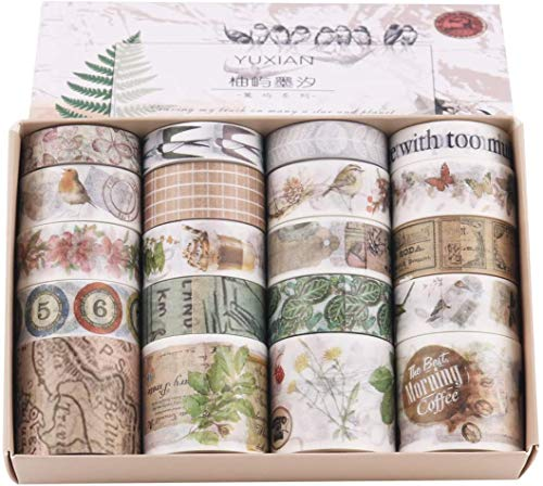 20 Rolls Different Patterns Beautiful Washi Tape Masking Tape Decoration Tape 2m each roll, width 1.0 cm/1.5cm/3cm.Gift box packaging For scrapbooking, gifts, DIY Greeting card,Gift packaging decoration Washi tape made of rice paper, self-adhesive, e...