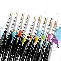 ディテールペイントブラシ 9本 セーブルヘアミニチュアペイントブラシ 細かなディテール&アート絵画用 アクリル水彩油 ネイルアート ネイルアート ネイルデザイン
