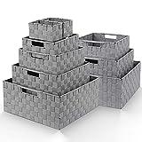 Homfa 9 Cestas Almacenaje Organizador de Cajones Cajas Plásticas con Efecto de Mimbre y Asas para Dormitorio Cocina Oficina Baño Gris Oscuro