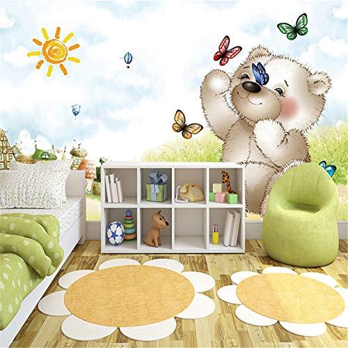YBHNB 3D Kinder Wandbilder, Benutzerdefinierte Wandbild Tapete Papel De Parede 3D Cartoon Frech Bär Kinderzimmer Schlafzimmer Vlies Gedruckt Tapete Wandbilder 3D,350X250CM