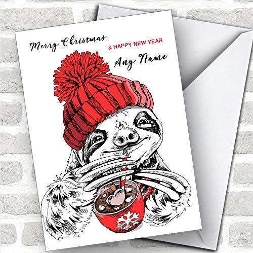 Sloth Drinkende Hete Chocolade Moderne Gepersonaliseerde Kerstmis Groeten Kaart