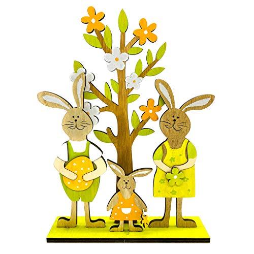 KunmniZ Conejo de madera árbol familiar feliz Pascua decoraciones día de San Valentín boda