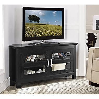 Walker Edison 44  Cordoba Corner TV Stand Console, Black