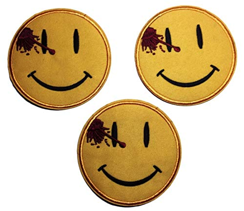 Watchmen Series Bloody Smiley Face Embroidered Patch Set of 3