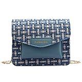 TAMALLU Frauen Umhängetasche Umhängetasche Umhängetasche Wolle Lässige Mode Kette Quadratische Tasche(Blau)