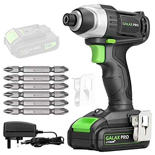 GALAX PRO Cordless Impact Driver 20V, Variable Speed (0-2800RPM),with LED Work Light, 6pcs Screwdriver Bits, 1.3Ah Battery and Charger