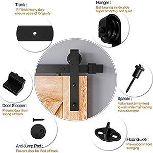 8ft Classic Rustic Double Sliding Barn Wood Door Hardware,Carbon Steel,Black (8FT Double Door Kit)