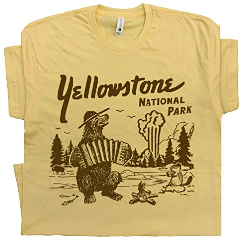 L - Yellowstone National Park T Shirt Wyoming Grand Tetons Tee Vintage Old Faithful Dutton Ranch Men Womens