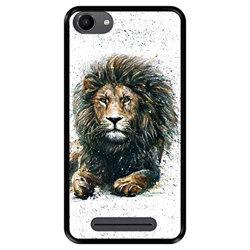 Hapdey silikon Hülle für [ Wiko Jerry - Lenny 3 - K-Kool ] Design [ Der König der Löwen im Dschungel ] Schwarze Flexibles TPU