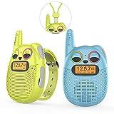 QNIGLO Q136 Walkie Talkie Niños Recargable USB,Radio FM 2 Km Alcance 10 Tonos de Llamada,Montar en Bicicleta Caminar Acampar Correr,Navidad Cumpleaños Regalos para Chicas Chicos(AzulVerde)