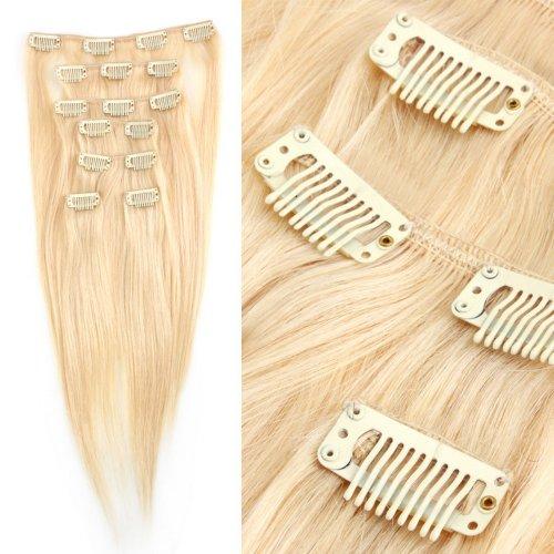 Yewig Extension de cheveux clip 7pcs Blond Raide Vrais Cheveux 100% Naturel # 613 70g 38cm
