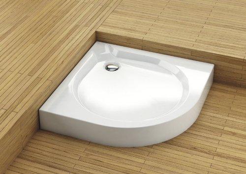 Viertelrundduschwanne Duschwanne Duschbecken Duschtasse Acryl weiss 90x90cm 900 x 900mm mit Siphon Schürze und Füßen