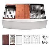 33 Farmhouse Sink Stainless - Logmey 33 inch Kitchen Sink Ledge Workstation Apron Sink Low Divide...