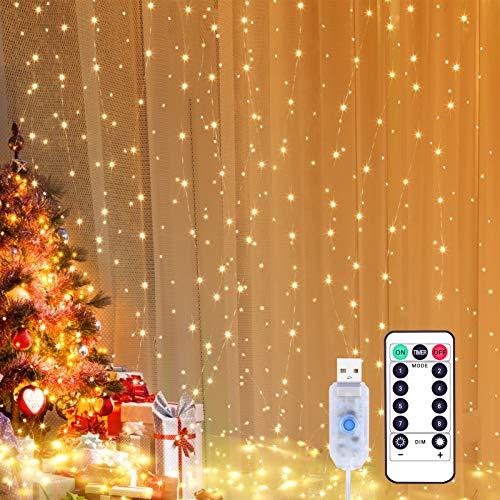 Yizhet Tenda Luminosa 3x3m 300 LED Natale Tenda Luci, Impermeabile IP65 Luci per Tende con Telecomando 8 Modalità Stringa Luce Catena per Interni, Esterni, Camera da Letto, Giardino (Bianco Caldo)