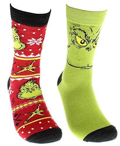 Dr Seuss The Grinch Grinchmas Adult Holiday Crew Socks 2 Pair