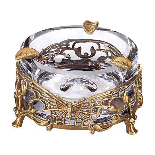 DongYuYuXuXi Europese hoogwaardige kristal ingelegd koper afneembare asbak rook schotel woonkamer salontafel bar kantoor creatieve decoratie
