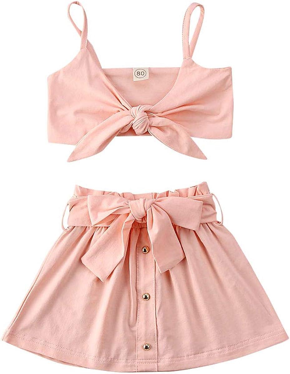 Toddler Little Girl Skirts Set Top+Skirt Vest Max 42% Reservation OFF Crop Halter Strap